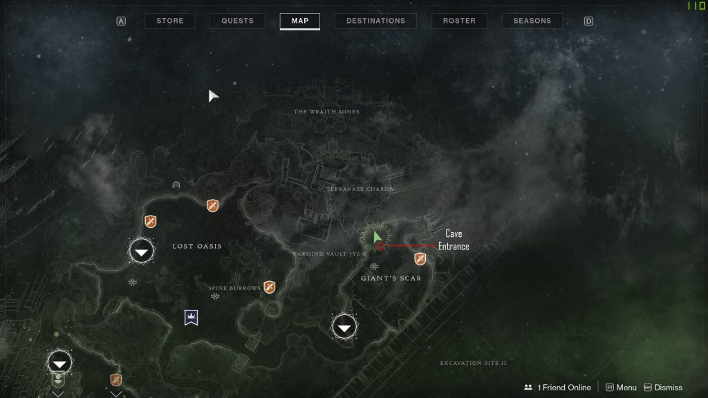 Destiny 2 - Xur location - Giant's Scar - Io