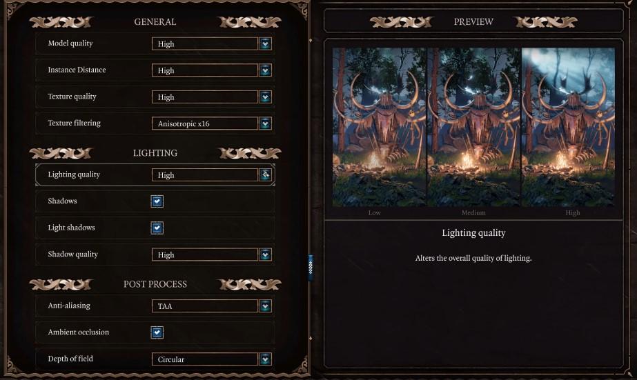 baldur's gate 3 graphics settings menu