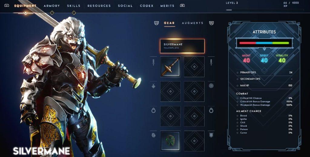 Godfall - Equipment menu